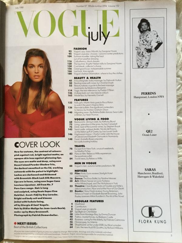 Vogue British Cindy contents