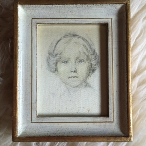 "'Girl face"" Italian vintage drawing front"