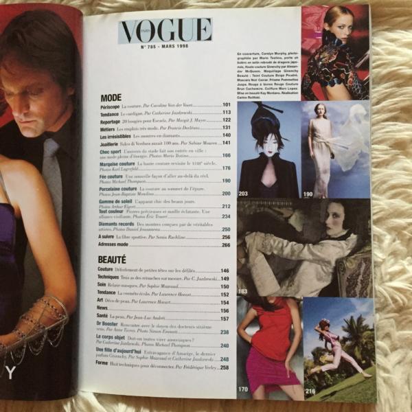 Vogue Paris Mars 1998 contenido 1