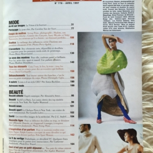 Vogue Paris Avril 1997 contents 1