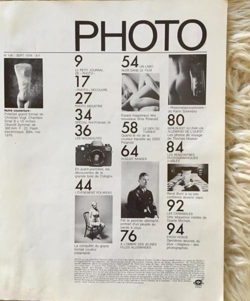PHOTO N.108 - Septembre 1976 - contents